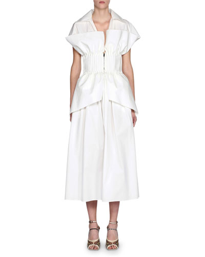 Short-Sleeve Cotton Poplin Dress w/ Bustier