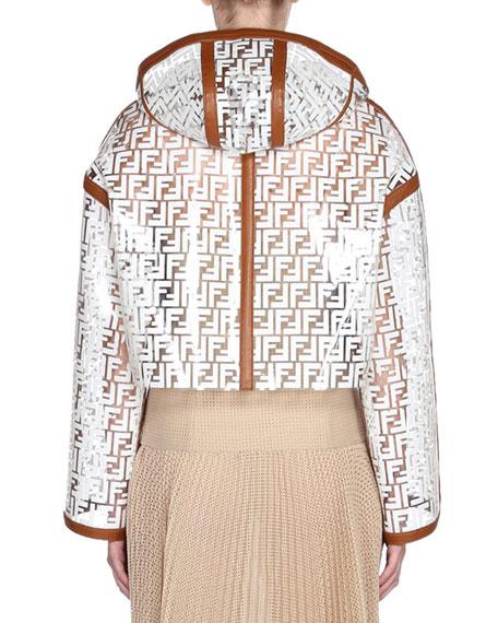 Leather Trim Logo-Jacquard Net Jacket