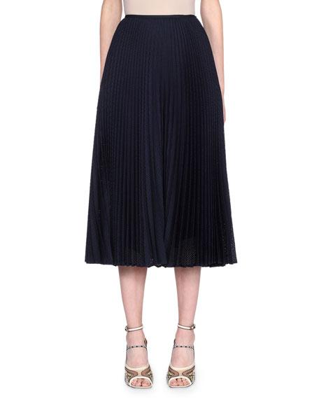 Fendi Pleated Preforated Mohair-Blend Net Skirt
