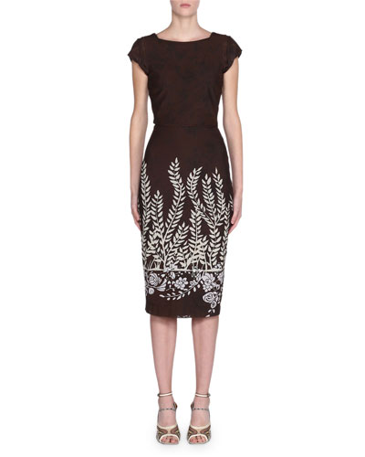 Cap-Sleeve Leaf-Print Bodycon Dress