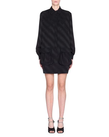 Jacquard Silk Long-Sleeve Belted Dress