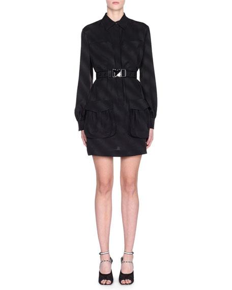 Fendi Jacquard Silk Long-Sleeve Belted Dress