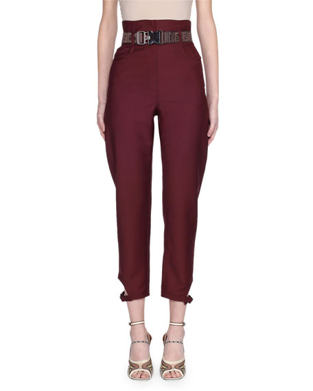 Belted High-Rise Wool Pants