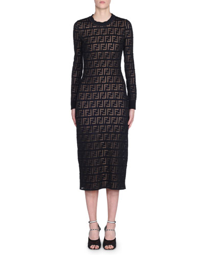 Long-Sleeve Logo Jacquard Bodycon Dress