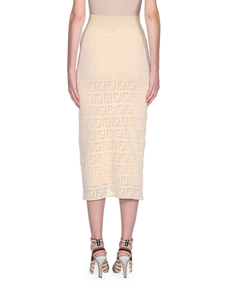 Logo Embroidered Knit Pencil Skirt