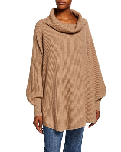 Ribbed Cowl-Neck Cape-Back Sweater