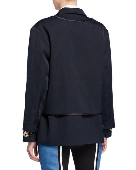 Zip-Layer Blazer w/ Leopard Print