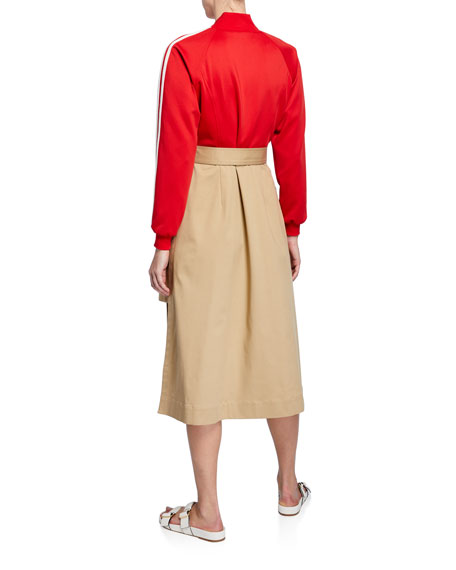 Track-Top Trench-Skirt Dress