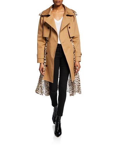 Leopard Print Chiffon-Back Trench Coat