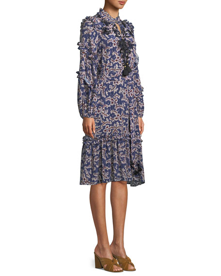 Tie-Neck Long-Sleeve A-Line Floral-Print Knee-Length Dress