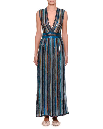 Sleeveless Metallic Maxi Dress