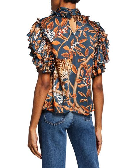 Absurd Beauty Jaguar-Print Georgette Short-Sleeve Top