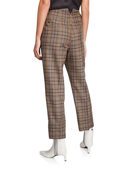 Double-Cuff Straight-Leg Check Pants