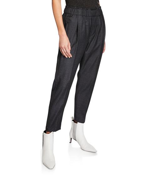 Brunello Cucinelli Sharkskin Wool Pull On Monili-Striped Pants