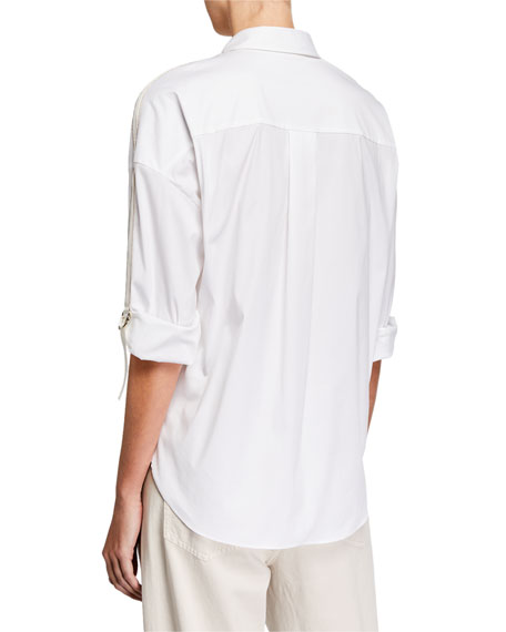 Monili Beaded Ribbon-Sleeve Button-Front Blouse