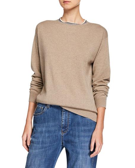 Brunello Cucinelli Sweaters CASHMERE MONILI-BEADED CREWNECK SWEATER