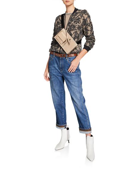 Monili-Beaded Grosgrain-Trim Jeans