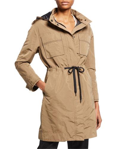 Taffeta Zip-Front Hooded Coat