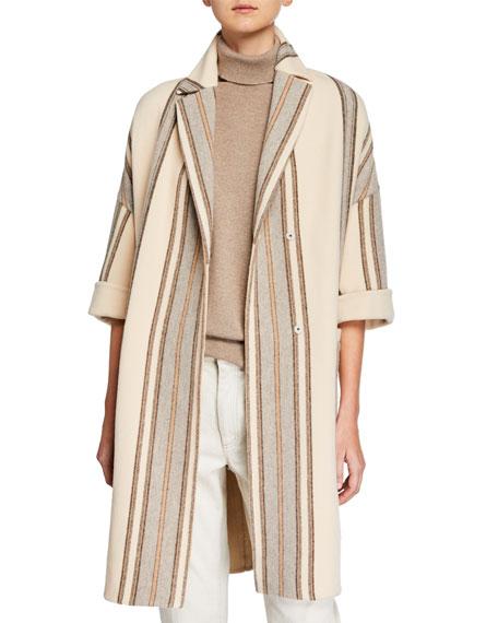 Brunello Cucinelli Double-Snap Striped Overcoat