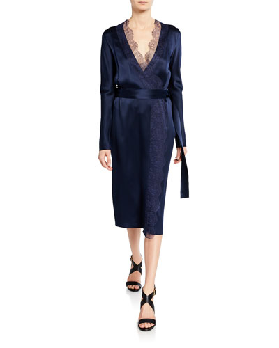 6c83deead75 Lace-Trim Belted Wrap Dress Quick Look. Dion Lee
