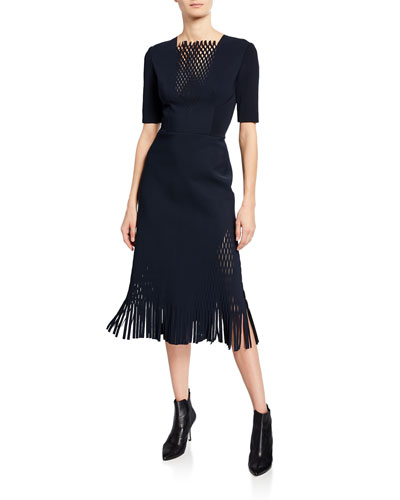 c4b3c81660d Perforated-Inset Fringe-Hem Dress Quick Look. Dion Lee