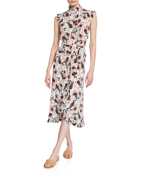 Erdem Sebla Ruffled Belted Dress