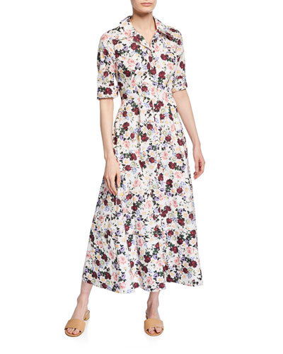 Kasia Floral-Print Cotton Shirtdress