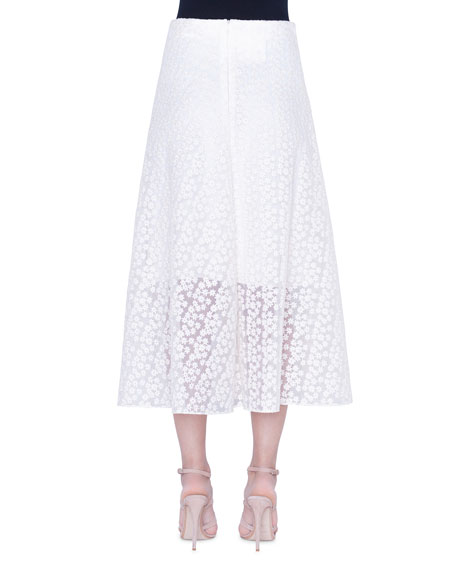 Daisy-Embroidered Organza Skirt