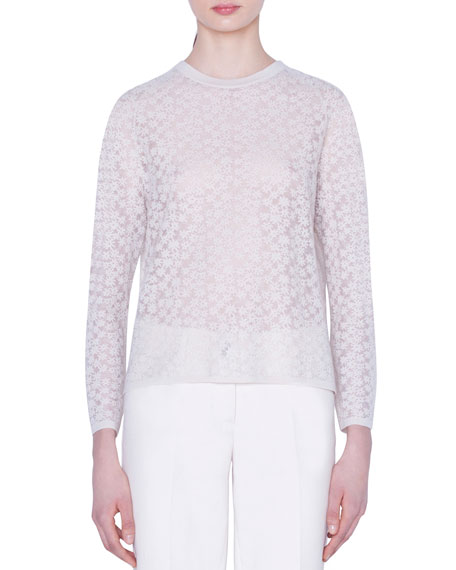 Akris Flower-Embroidered Wool-Silk Sweater