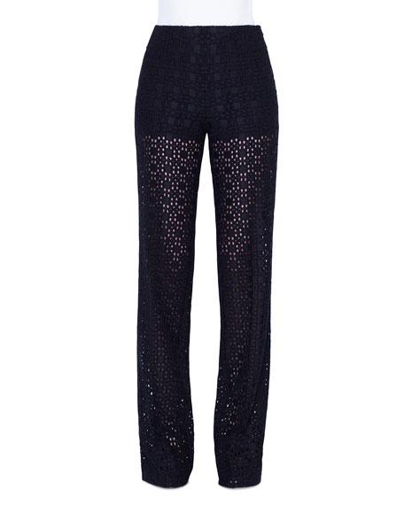 Akris Carla Plaid-Embroidered Straight Leg Pants