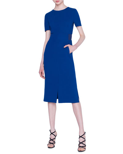 Double-Face Wool Crepe Sheath Dress