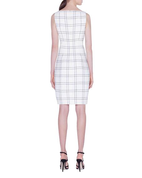 Wool/Cotton Double-Face Check Sheath Dress
