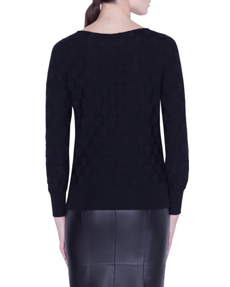 Long-Sleeve Shimmer-Triangle Knit Top