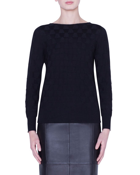 Akris Long-Sleeve Shimmer-Triangle Knit Top