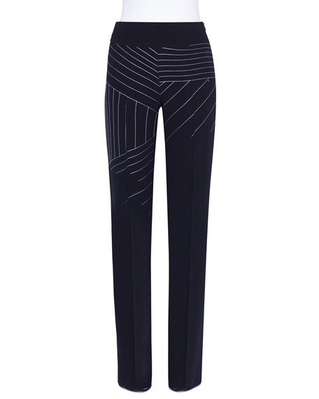 Carla Swiss-Mountain Embroidered Wool Pants