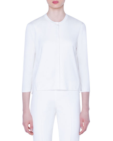 Plisse-Back Silk Cardigan