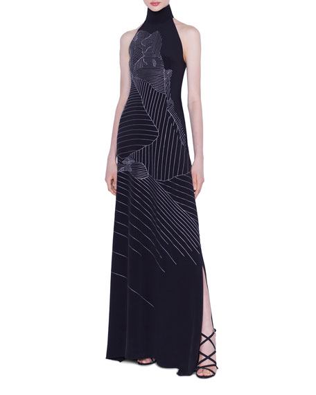 Akris Mountain Embroidered Silk-Crepe Gown