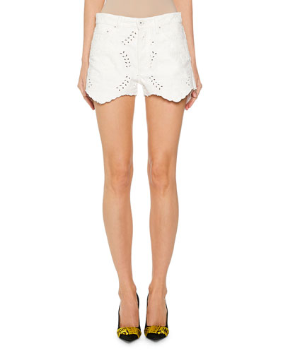 Lace-Embroidered Mini Shorts