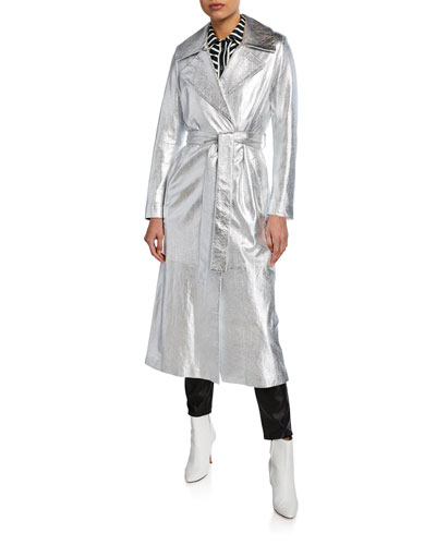 Karla Silver Foil Leather Trench Coat