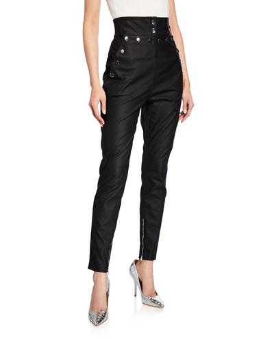 High-Rise Matte Leather Grommet-Trim Pants