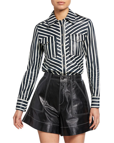 Mod-Striped Leather Button-Front Shirt