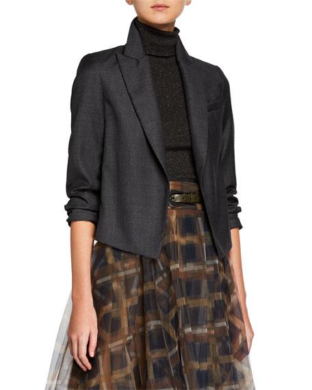 Cropped Wool Blazer Jacket