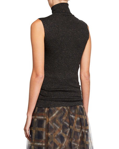 Metallic Cashmere-Blend Turtleneck Sleeveless Sweater