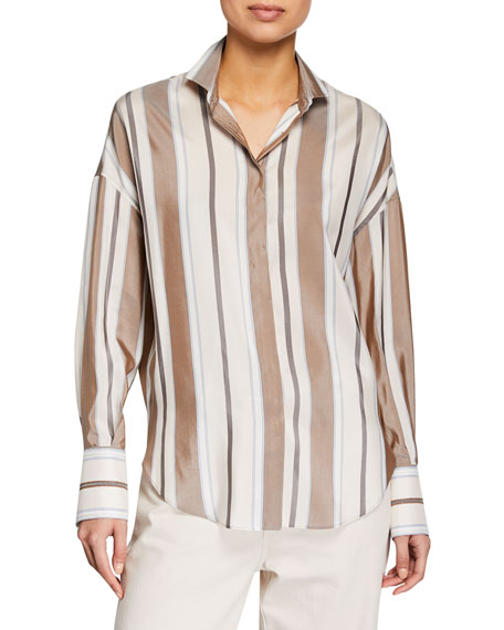 Brunello Cucinelli Tops LONG-SLEEVE STRIPED SILK COLLARED BLOUSE