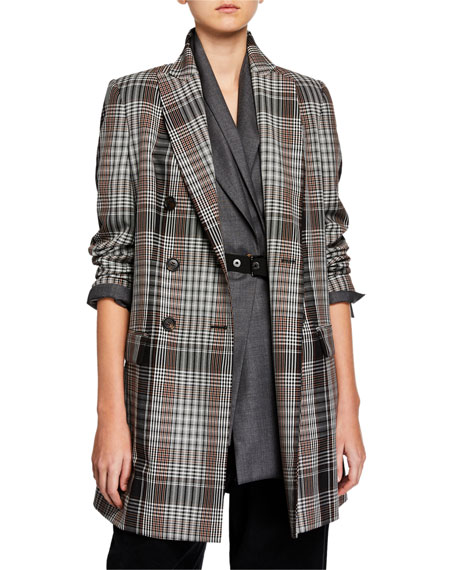 Brunello Cucinelli Plaid Tropical-Wool Overcoat
