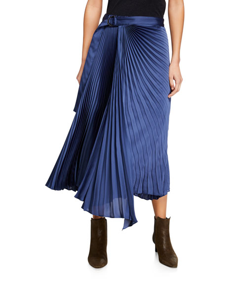 Belted Pleated Asymmetric Skirt