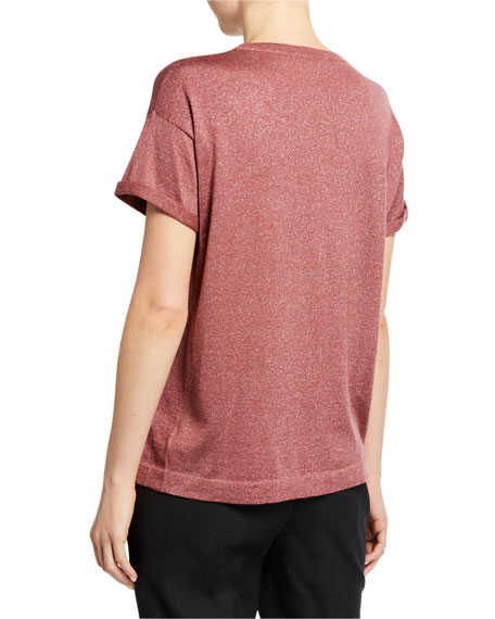 Crewneck Short-Sleeve Cashmere/Silk Metallic Tee