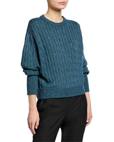 Cashmere/Silk Pailette Shorter Bodied Cable-Knit Sweater