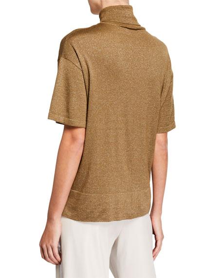 Short-Sleeve Cashmere-Silk Turtleneck Sweater