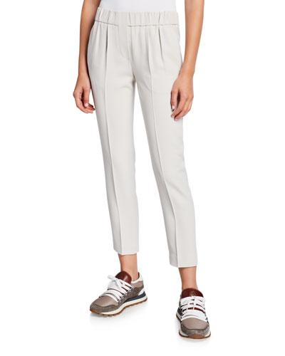 Silk Crepe Pull-On Pants